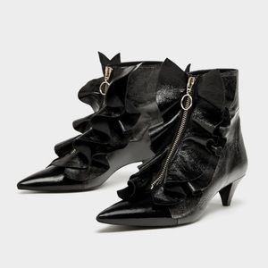 NWT Zara leather ankle booties